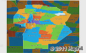 Political Panoramic Map of Cordoba, darken