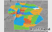 Political Panoramic Map of Cordoba, desaturated