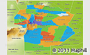 Political Panoramic Map of Cordoba, physical outside
