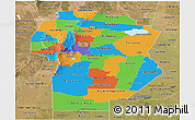 Political Panoramic Map of Cordoba, satellite outside