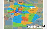 Political Panoramic Map of Cordoba, semi-desaturated