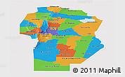 Political Panoramic Map of Cordoba, single color outside