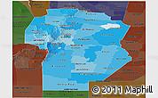 Political Shades Panoramic Map of Cordoba, darken