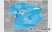 Political Shades Panoramic Map of Cordoba, desaturated