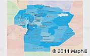 Political Shades Panoramic Map of Cordoba, lighten