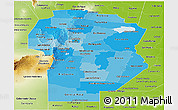 Political Shades Panoramic Map of Cordoba, physical outside