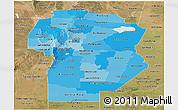 Political Shades Panoramic Map of Cordoba, satellite outside