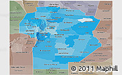 Political Shades Panoramic Map of Cordoba, semi-desaturated