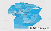 Political Shades Panoramic Map of Cordoba, single color outside