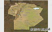 Satellite Panoramic Map of Cordoba, darken