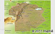 Satellite Panoramic Map of Cordoba, physical outside