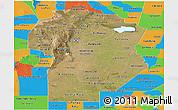 Satellite Panoramic Map of Cordoba, political outside
