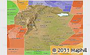 Satellite Panoramic Map of Cordoba, political shades outside