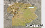 Satellite Panoramic Map of Cordoba, semi-desaturated