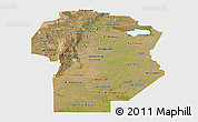 Satellite Panoramic Map of Cordoba, single color outside