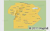 Savanna Style Panoramic Map of Cordoba, single color outside