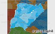 Political Shades 3D Map of Corrientes, darken