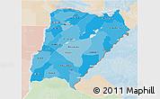 Political Shades 3D Map of Corrientes, lighten