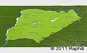 Physical Panoramic Map of Corrientes, darken