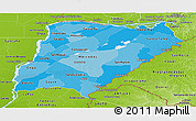Political Shades Panoramic Map of Corrientes, physical outside