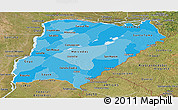 Political Shades Panoramic Map of Corrientes, satellite outside
