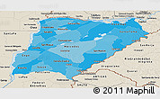 Political Shades Panoramic Map of Corrientes, shaded relief outside