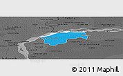 Political Panoramic Map of San Cosme, darken, desaturated