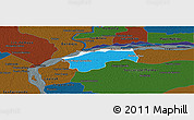 Political Panoramic Map of San Cosme, darken