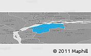 Political Panoramic Map of San Cosme, desaturated