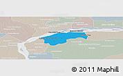 Political Panoramic Map of San Cosme, lighten, semi-desaturated