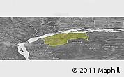 Satellite Panoramic Map of San Cosme, desaturated