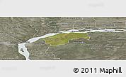 Satellite Panoramic Map of San Cosme, semi-desaturated