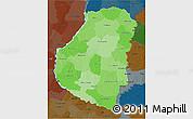Political Shades 3D Map of Entre Rios, darken
