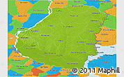 Physical Panoramic Map of Entre Rios, political outside