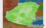 Political Shades Panoramic Map of Entre Rios, darken