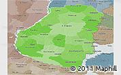 Political Shades Panoramic Map of Entre Rios, semi-desaturated
