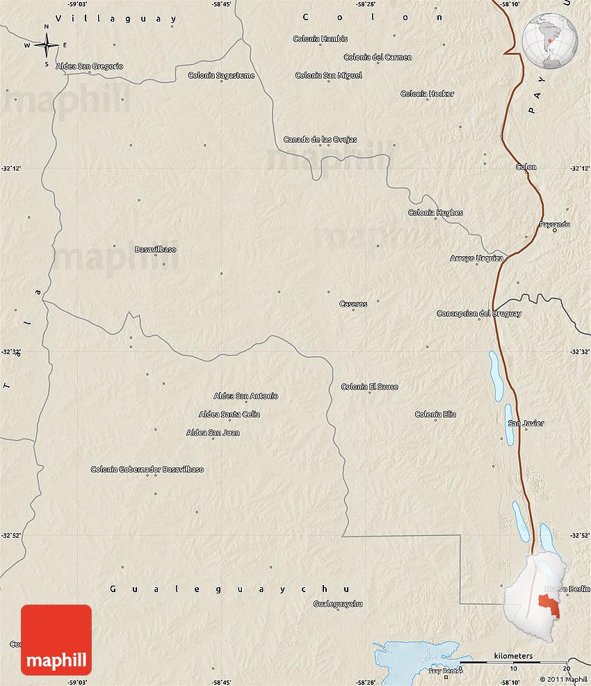 Shaded Relief Map Of Uruguay - Uruguay relief map