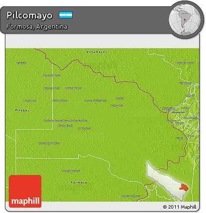 Physical 3D Map of Pilcomayo