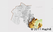 Physical 3D Map of Jujuy, cropped outside