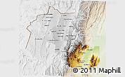 Physical 3D Map of Jujuy, lighten