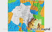 Physical 3D Map of Jujuy, political outside