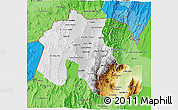 Physical 3D Map of Jujuy, political shades outside