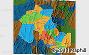 Political 3D Map of Jujuy, darken