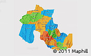 Political 3D Map of Jujuy, single color outside
