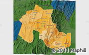 Political Shades 3D Map of Jujuy, darken