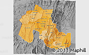 Political Shades 3D Map of Jujuy, desaturated