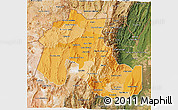 Political Shades 3D Map of Jujuy, satellite outside