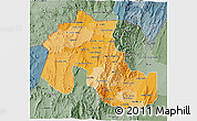 Political Shades 3D Map of Jujuy, semi-desaturated