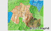 Satellite 3D Map of Jujuy, political shades outside