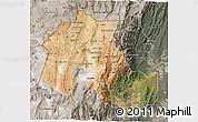 Satellite 3D Map of Jujuy, semi-desaturated